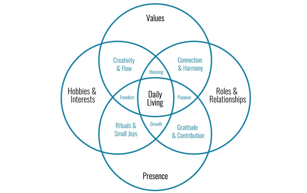 Venn diagram showing the overlapping impact that values, relationships, presence, and hobbies have on daily purpose and daily living.
