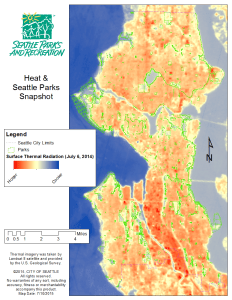 Map with thermal imagery of Seattle and parks highlighted.