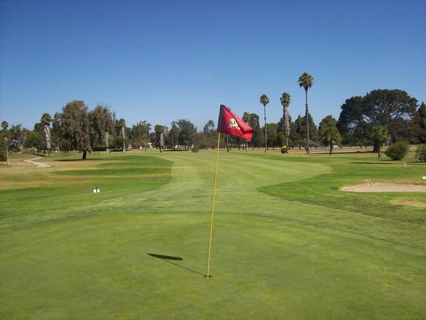 Seabee Golf Club Port Hueneme California. Hole 18 Green-side looking back.
