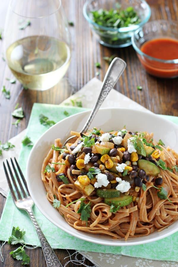 Vegetable and Black Bean Enchilada Pasta