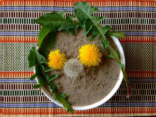 Bitterstoffe zum Löffeln: Ein grüner Smoothie mit selbst gesammelten Löwenzahnblättern und -blüten.