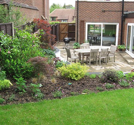 Back Garden Seating area with Steps to Lawn | Greenspace ... on Back Garden Seating Area Ideas id=53462