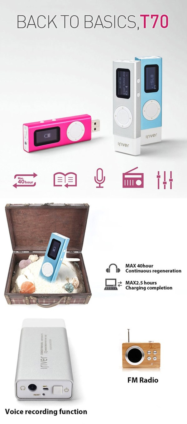 USED iRiVER T70 Portable MP3 Player + Built in USB 8GB ...