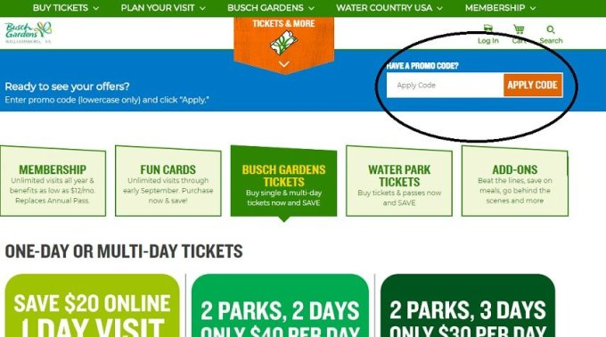 Busch Gardens Williamsburg Fun Card Promo Code | Cardss.co