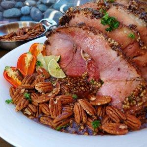 Pecan crusted ham recipe with maple-pecan glaze
