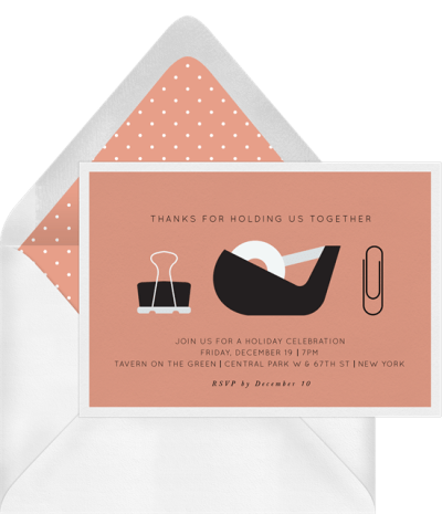"""Holiday card messages: a card that reads, """"Thanks for holding us together"""""""