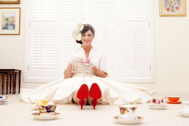 bride with red soled shoes