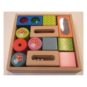 Jeux d'apprentissage : blocs en bois de découverte sensorielle, Everearth