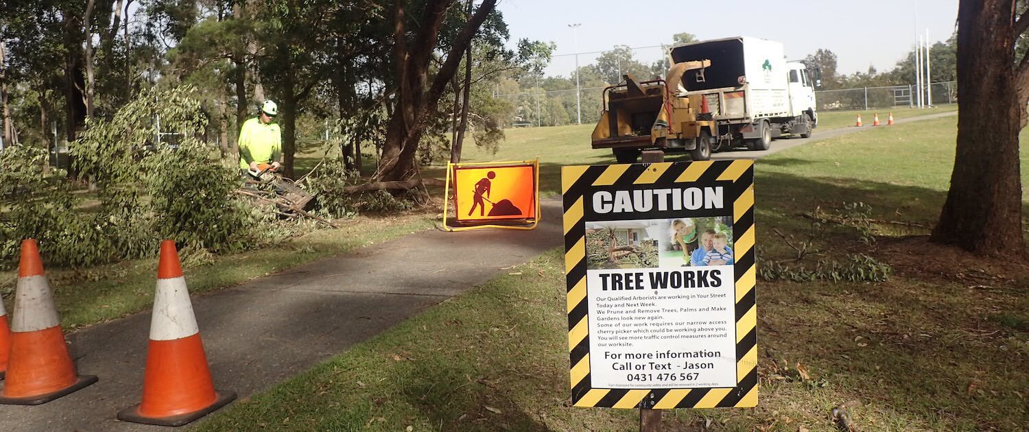 Caution Tree Works in Progress sign for Green Works Tree Care