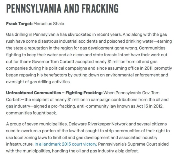EarthJustice:Pennsylvania and Fracking