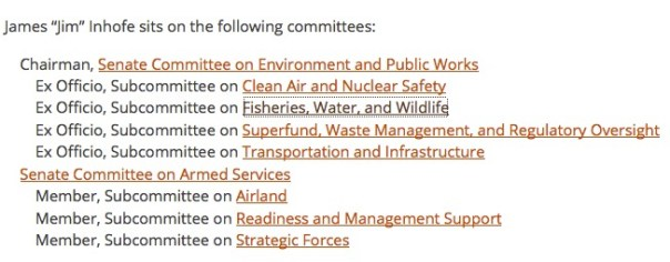 Senator Inhofe's committees