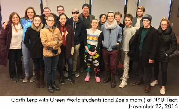 Garth-Lenz-with-Green-World-students-(and-Zoe's-mom!)-at-NYU-Tisch-November-22-2016