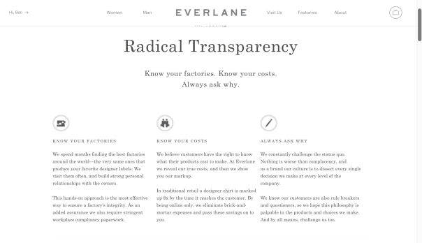 """Everlane's """"About"""" section on their website"""