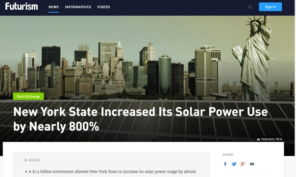 "A $1.5 billion investment allowed New York State to increase its solar power usage by almost 800% in the past five years, from 83.06 MW in 2011 to 743.65 MW in 2016.     Initiatives and investments by states like New York bring us one step closer to a fossil-free future that will not only help the environment but save us money as well.  A National Leader  New York is putting its money where its mouth is when it comes to a clean energy commitment. The state boasts an almost 800 percent increase in solar power over the past five years. Alt Energy Sources CLICK TO VIEW FULL INFOGRAPHIC  According to a statement made earlier this week by Governor Andrew M. Cuomo, ""New York is a national leader in clean energy, and the tremendous growth of the solar industry across this state demonstrates this renewal technology's increased accessibility and affordability for residents and businesses."""