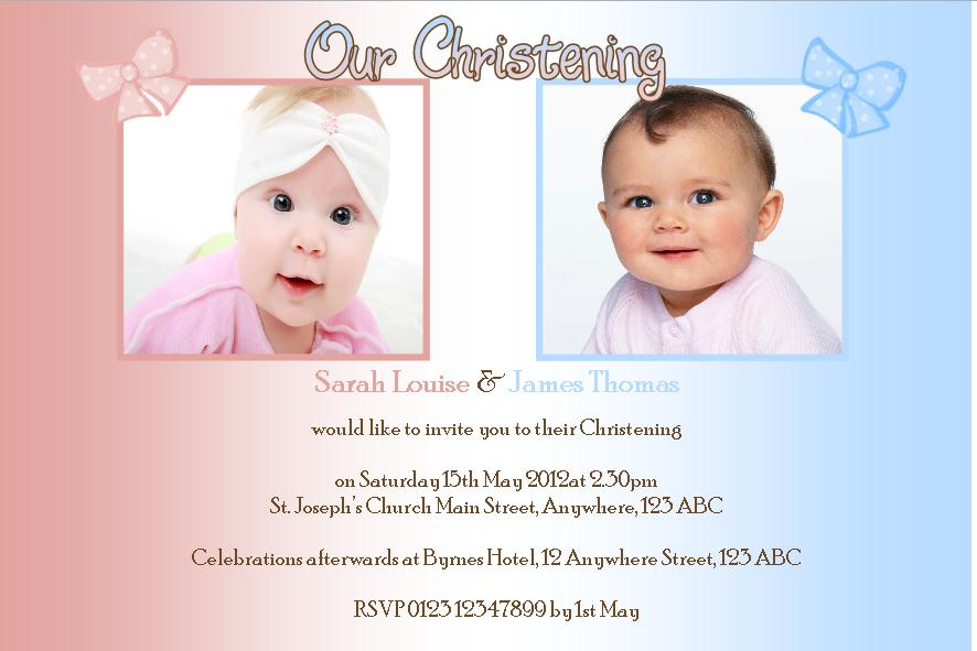 Birthday And Baptism Invitations Together