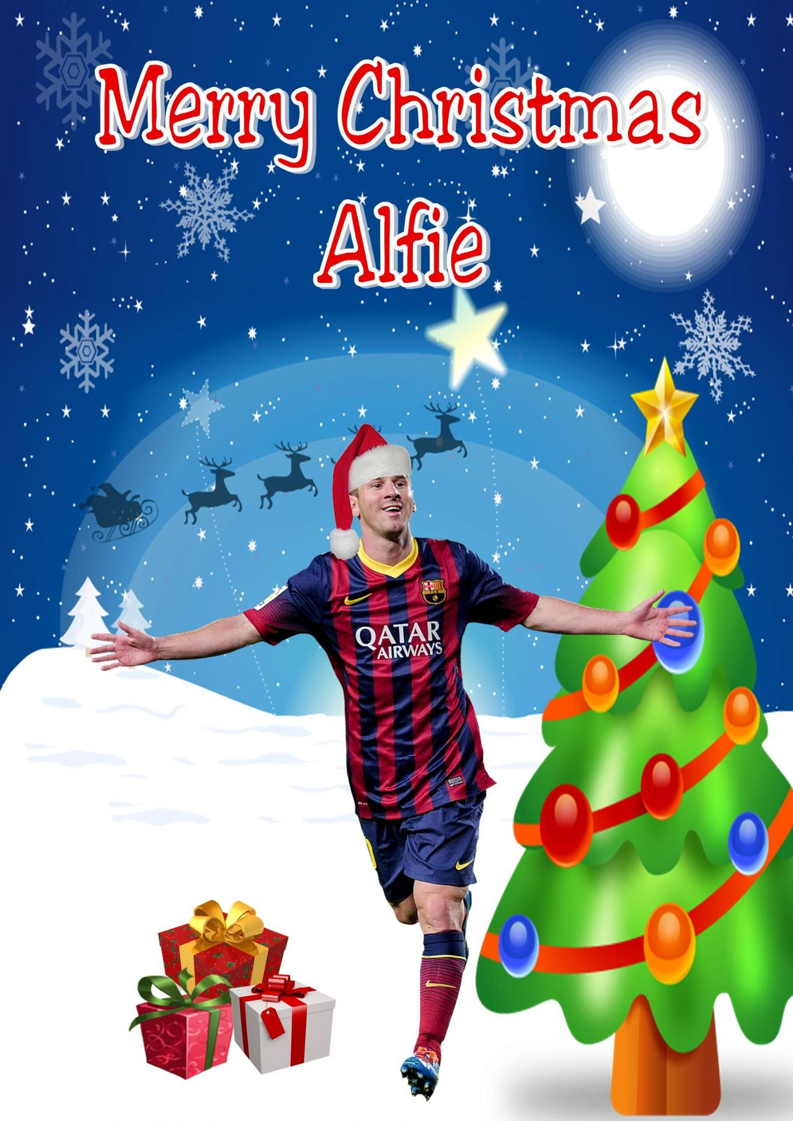 Personalised Lionel Messi Christmas Card