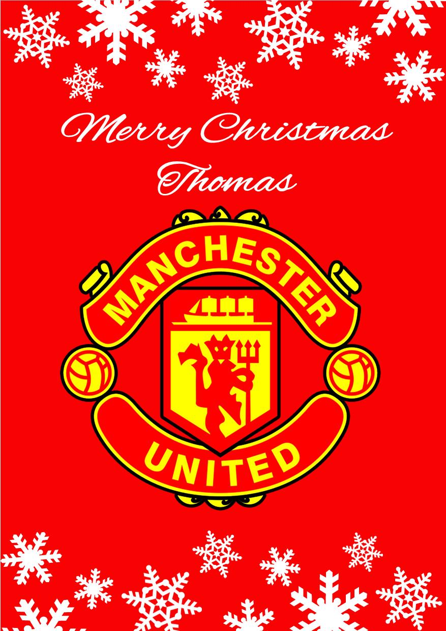 Personalised Manchester United FC Christmas Card