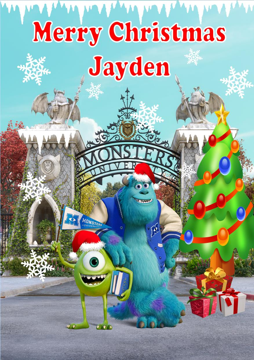 Personalised Monsters University Inc Christmas Card