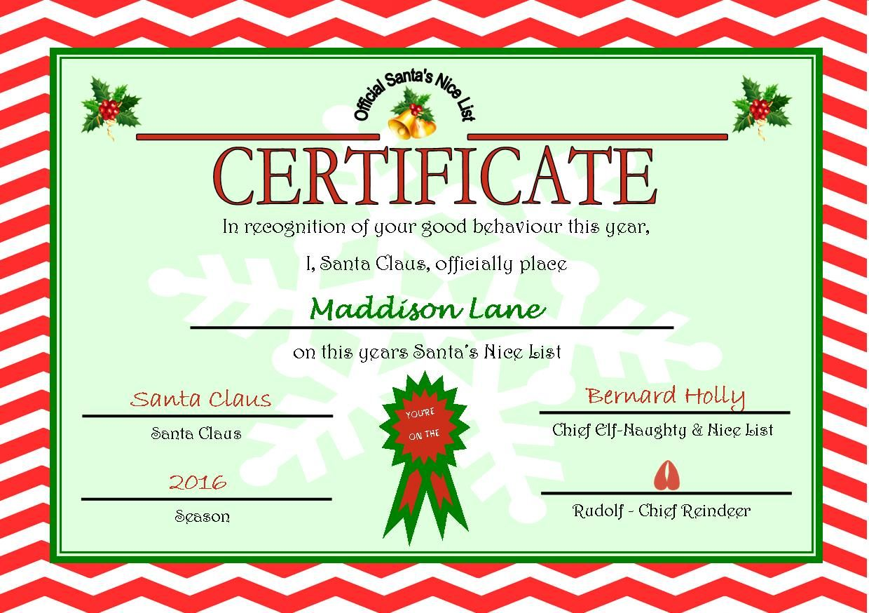 Personalised Santa S Nice List Certificate Design 6