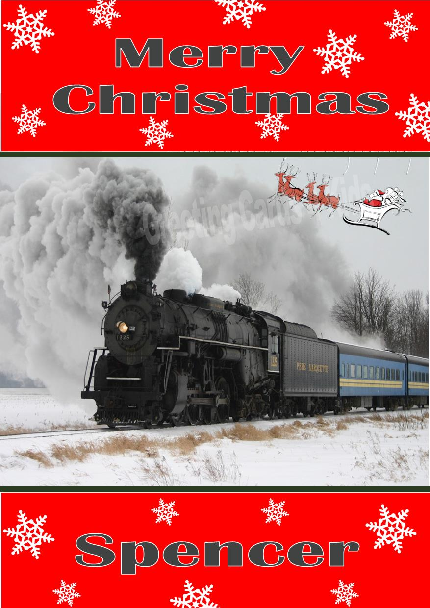 Personalised Steam Train Christmas Card