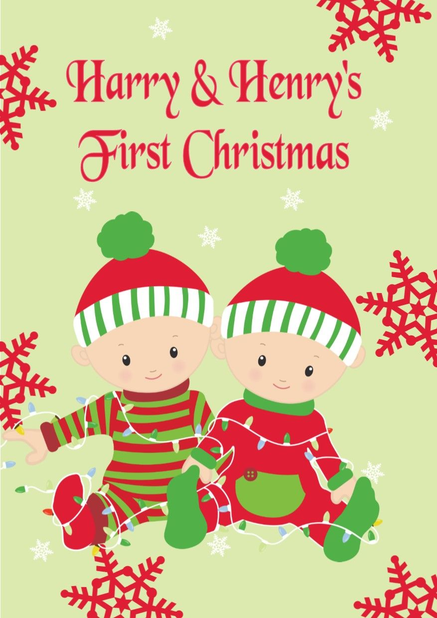 Personalised Twins Baby Boys First Christmas Card