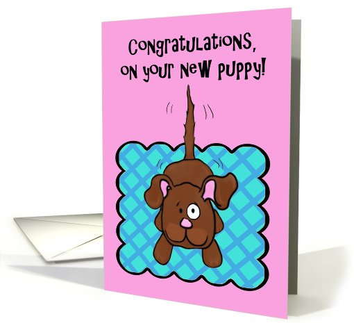 Congratulations New Puppy Whimsical Wagging Tail Dog Card