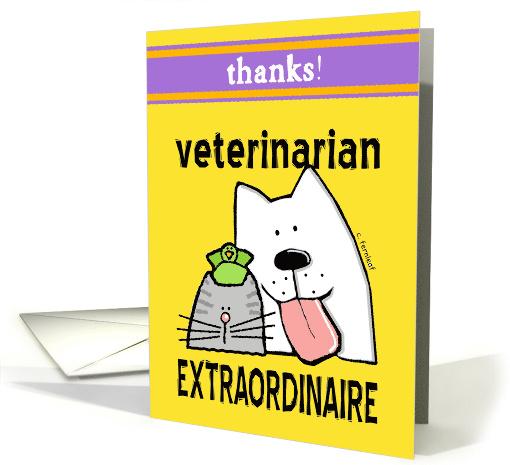 Thanks Veterinarian Cat Dog Bird Cartoon Card 610816