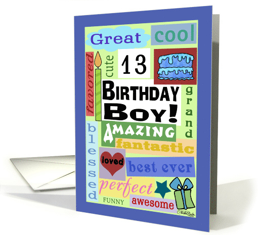Happy Birthday For 13 Year Old Boy Good Word Subway Art