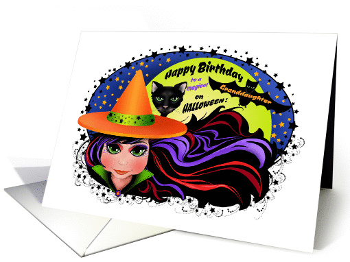 Witch And Black Cat Happy Birthday On Halloween
