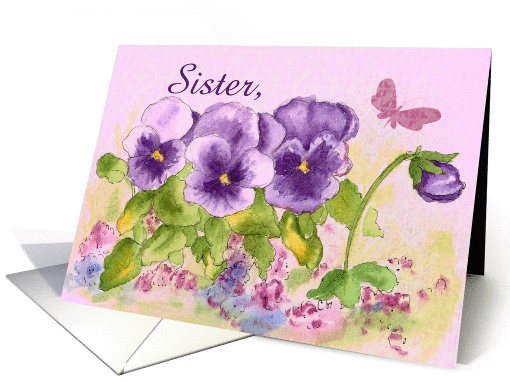 Happy Birthday Sister Butterfly Purple Pansy Card 121166