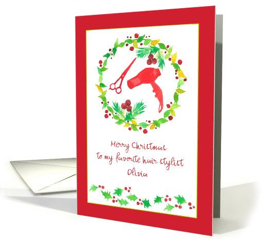 Merry Christmas Hair Stylist Blow Dryer Holly Custom Name Card