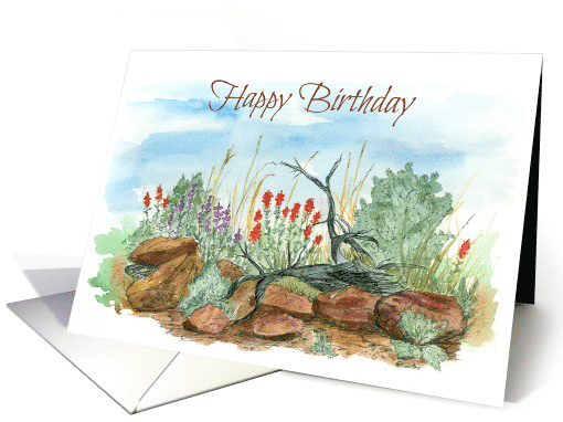 Happy Birthday Desert Wildflowers Landscape Watercolor Art