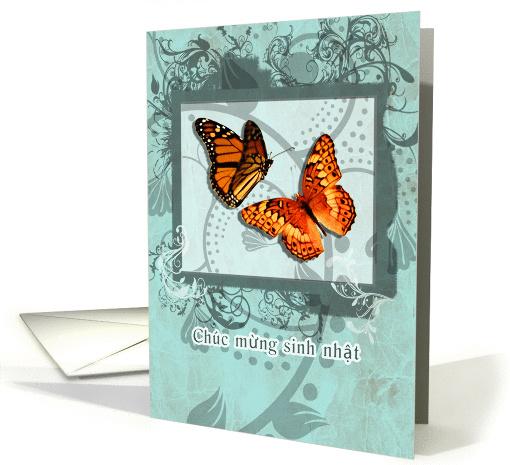 Happy Birthday In Vietnamese Orange Butterflies And