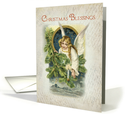 Vintage Religious Christmas Angel Card 1291578