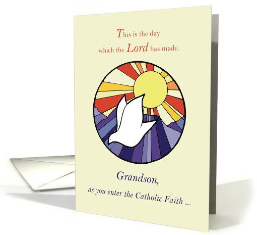 Grandson Catholic Faith Initiation Congratulations Dove