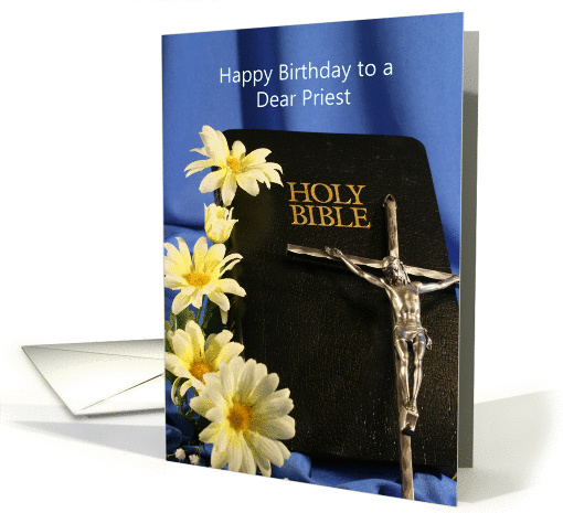 For Priest BIrthday Greeting Card With Holy Bible Crucifix
