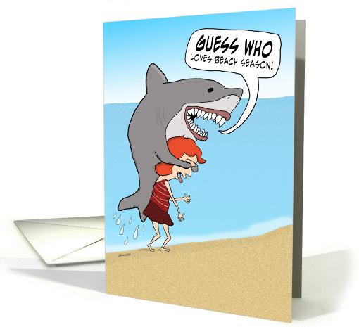 Funny Shark On Beach Birthday Card 1372696