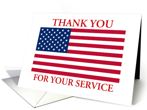 Thank You For Your Service American Flag Patriotic Card