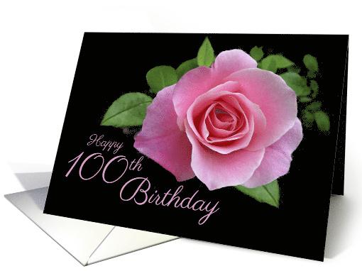 Happy 100th Birthday Classic Pink Rose Scrolls On Black Card 403860