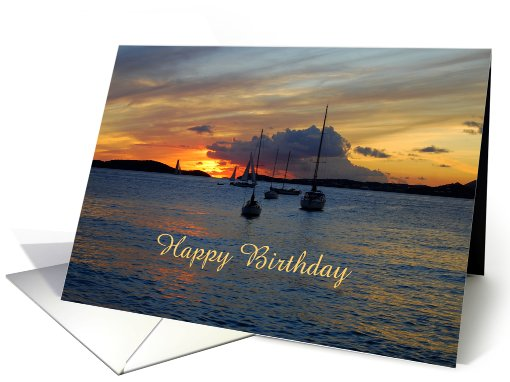 Happy Birthday Sailboats At Sunset Card 896948