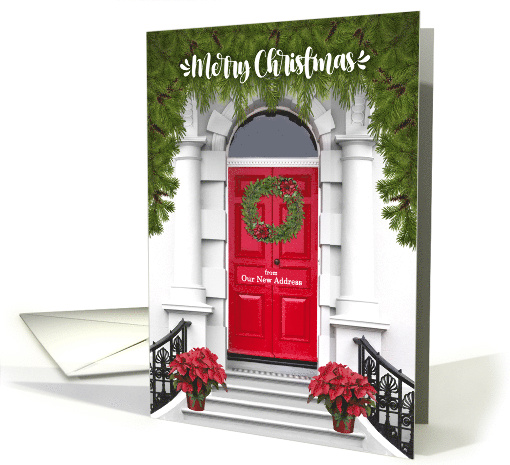 From Our New Address Merry Christmas Door With A Wreath Card