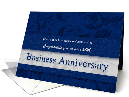 20th Business Anniversary Congratulations Blue And Silver Card