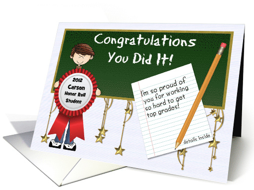 Honor Roll Congratulations Custom Front With Boy Card 923981