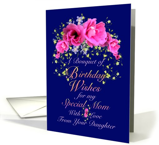 Mom Birthday Wishes From Daughter Pink Bouquet Card 641643