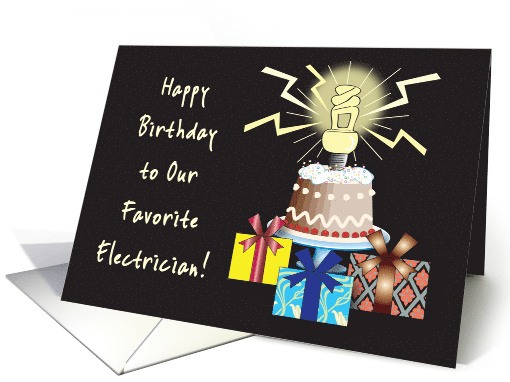 Happy Birthday To Electrician Lightening Card 878127