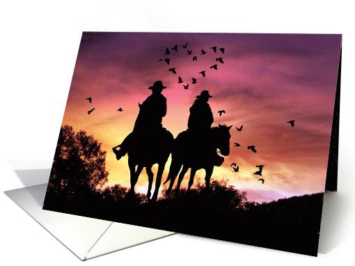 Wedding Congratulations Cowgirl And Cowboy Horse Riding