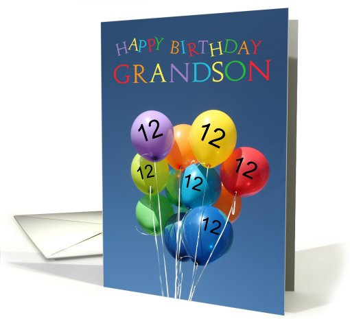 12th Birthday Card For Grandson Colored Balloons Card 804548