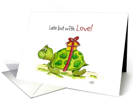 Belated Birthday Late Turtle With Gift Card 636676