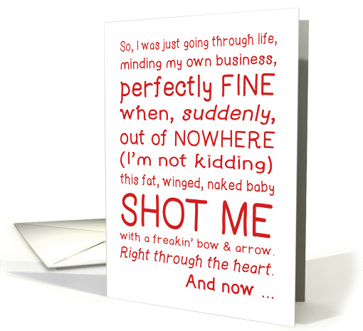 Funny Valentines Day Card Cupid Shot Me Typography Love
