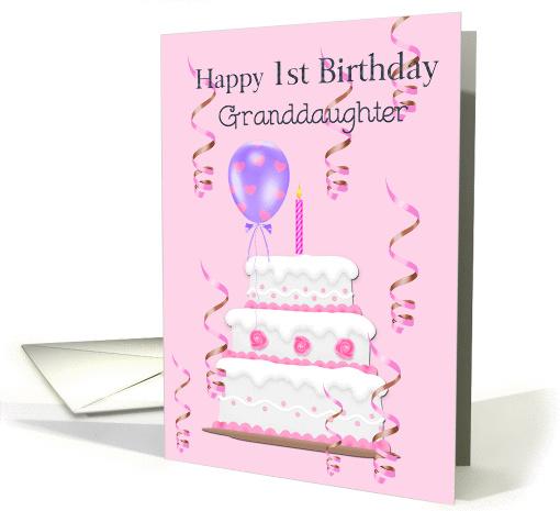 Happy 1st Birthday Granddaughter Cake Balloons
